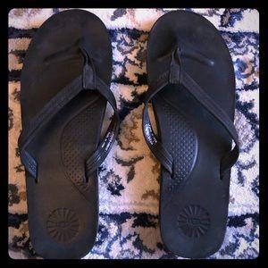 Ugg Kayla Black Leather Flip Flops Size 9